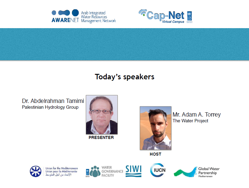 """Second E-Learning Series """"Water Integrity for Arab Countries"""" with Dr. Abdelrahman Tamimi, 3 May, 2016"""